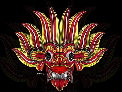 Line art Devil mask colorful ai vector design illustrator