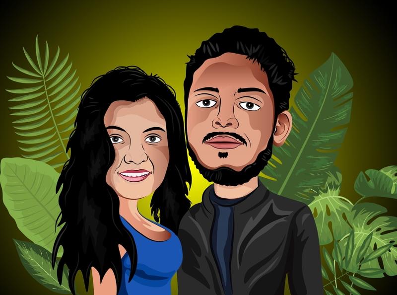 Vector Portrait Couple portrait vector colorful design illustrator