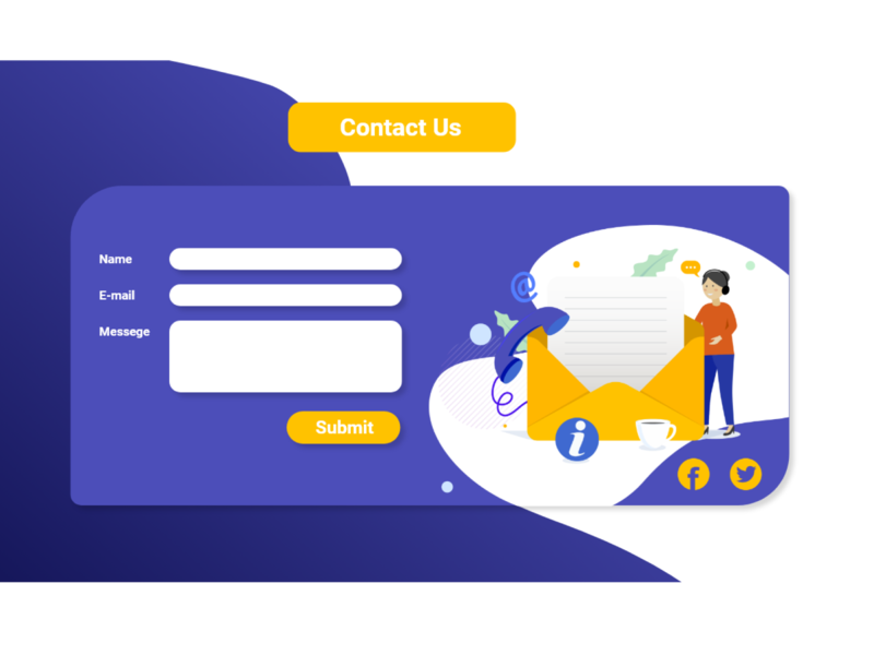 Contact Us part for Landing Page contact us xd design blue yellow unique vector ai illustrator