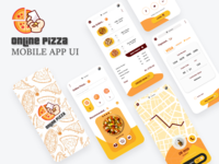 Online Pizza Mobile App UI orange yellow uiux ui mobile app online pizza xd design design illustrator