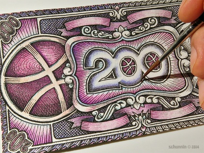 200 Dollowers - finishing dribbble tribute design currency work in progress