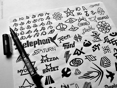 Graphizophrenia II design black pen logo typo