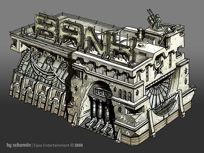 Zombank Inc. architecture concept game art game illustration