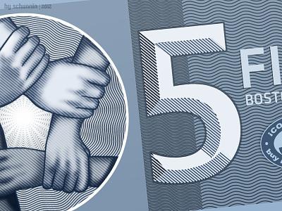 5 Boston Beans currency design print money illustration