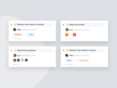 Project Management Tool - Cards design exploration