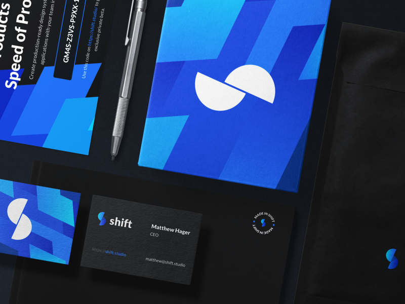 Shift Branding mockup designinspiration brand identity software agency blue shift logodesign logo branding