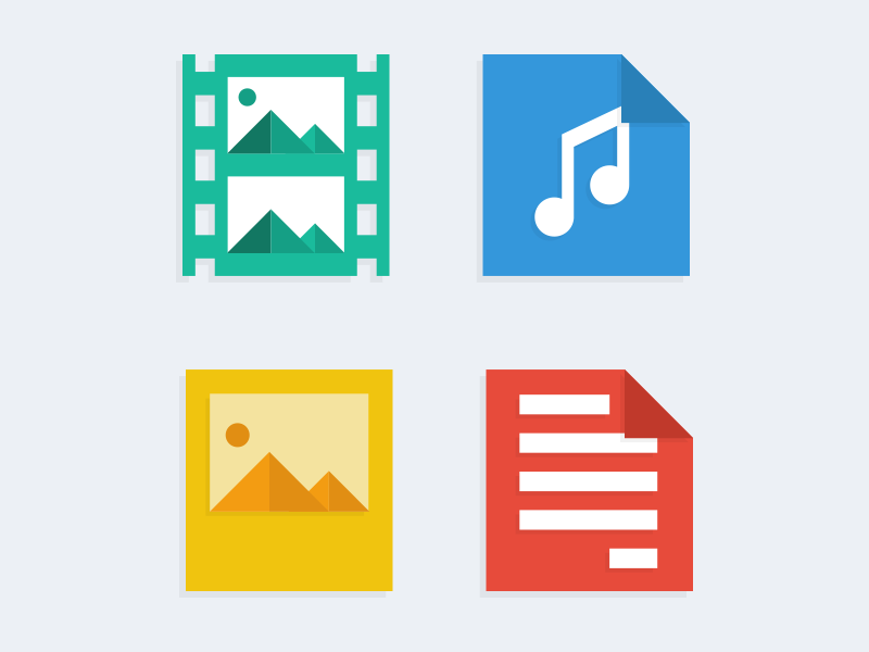 Flat files flat flat icon audio documents images video flat web blue web icons icon