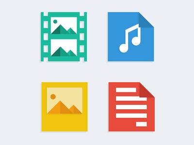 Flat files flat flat icon audio documents images video flat web blue web icons icon