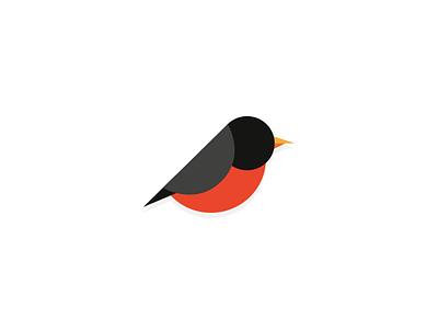 Bird flat logotype bird bird logo red black robin mark icon proposal