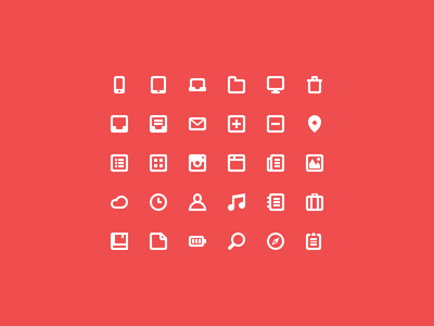 Free Icons icons icon psd free pack flat red path web