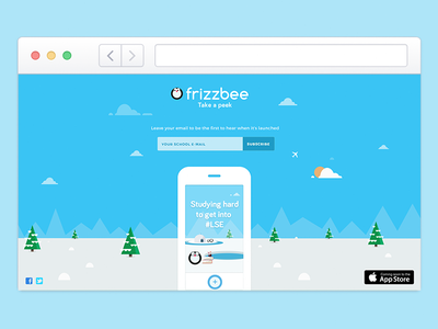 frizzbee web illustration app launching flat penguin sky snow character design ios mascot