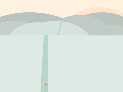 Roadtrip sunset landscape travel abstact minimalist illustration