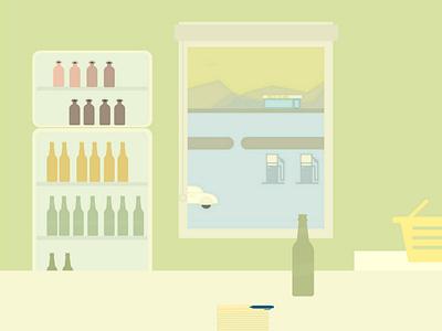 Gas Station shop travel minimalist illustration
