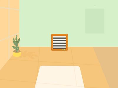 TV colorful home flat  design television lazy sunday interior design room abstact minimalist illustration