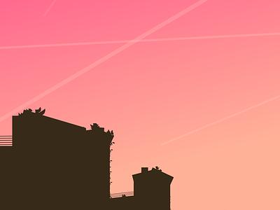 Only Dull People are Brilliant at Breakfast city life black pibk sunset minimalist illustration