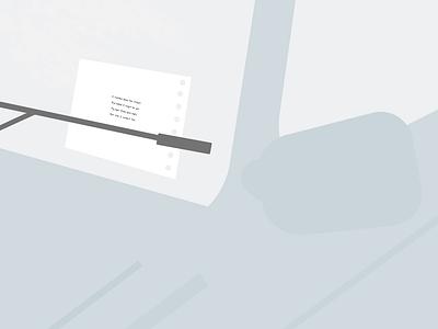 Leave notes. blue car geometric abstact minimalist illustration