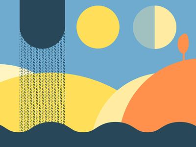 Indecisive One cosmic nature landscape seaside geometric minimalist abstact illustration
