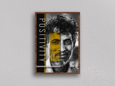 Happiness Poster black and gold black  white yellow positivity joy design man photo poster typography