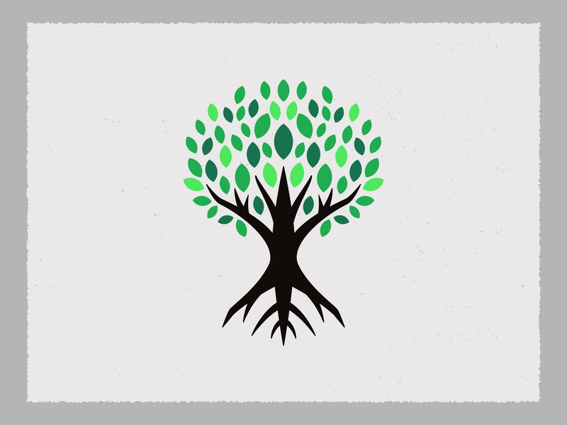 Tree Icon roots green icon logo textured wood leaves tree