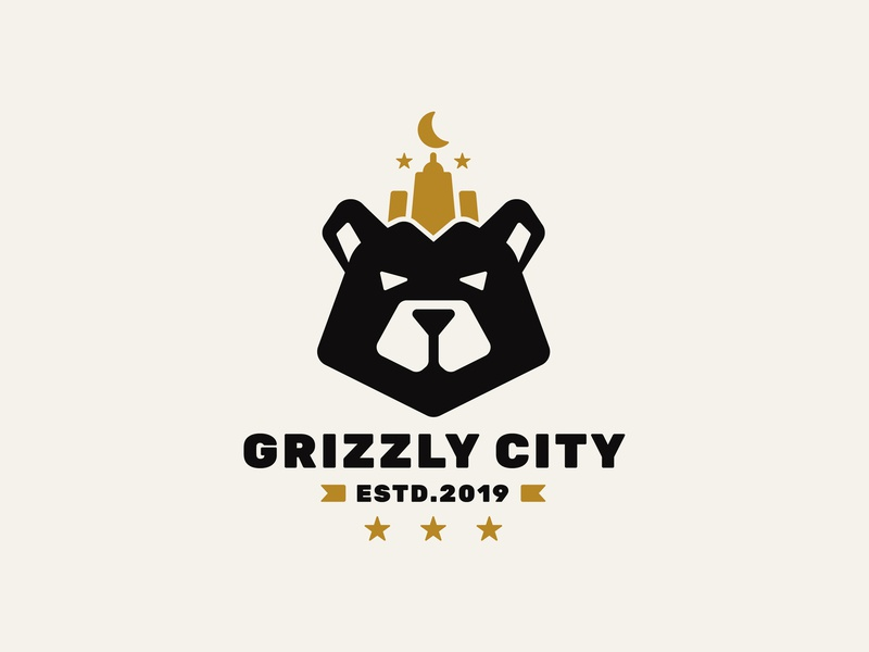 Grizzly City icon logo stars moon city grizzly bear