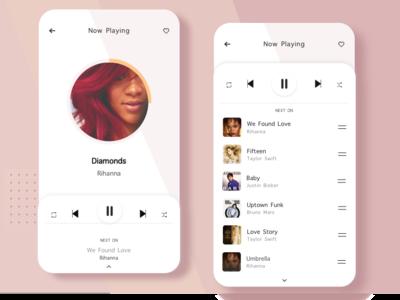 Light Theme Music App previous player next app list design ui  ux music app ui