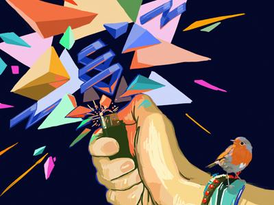Light Hand digital painting illustration bird light hand