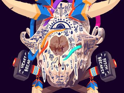 Fox Skull digital painting illustration skull fox indian hammer