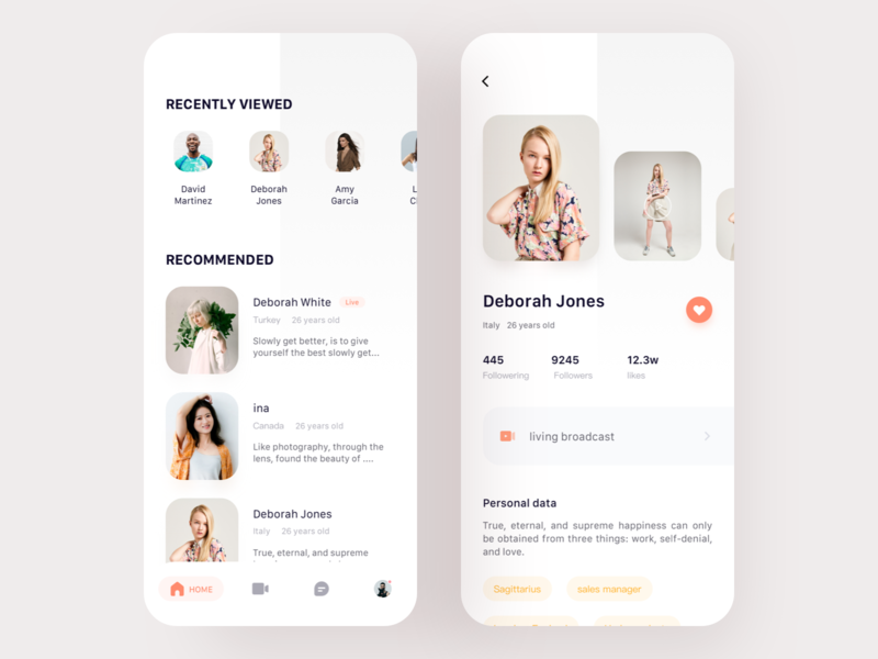 Social Live App   01 app 设计 ui live social
