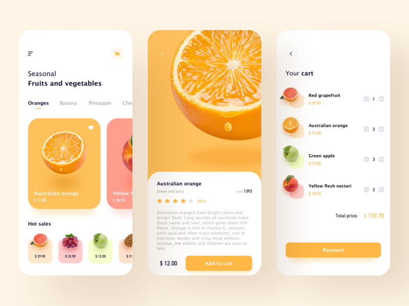 Fruits And Vegetables app 设计 ui fruits vegetables shopping