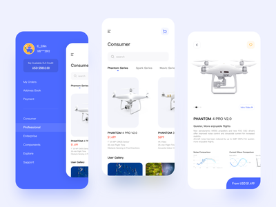 Drone shopping app app ui shopping