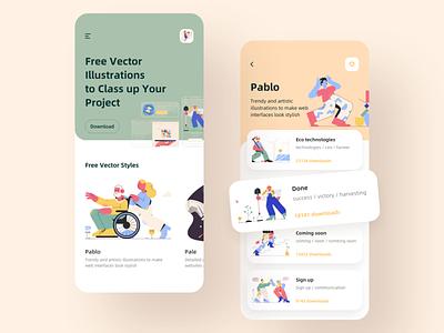 Illustration material application design app ui illustration