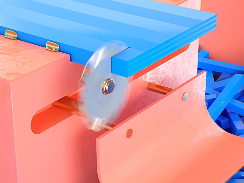 Saw 2 blades machine cubes cut render octane c4d saw animation blue pink