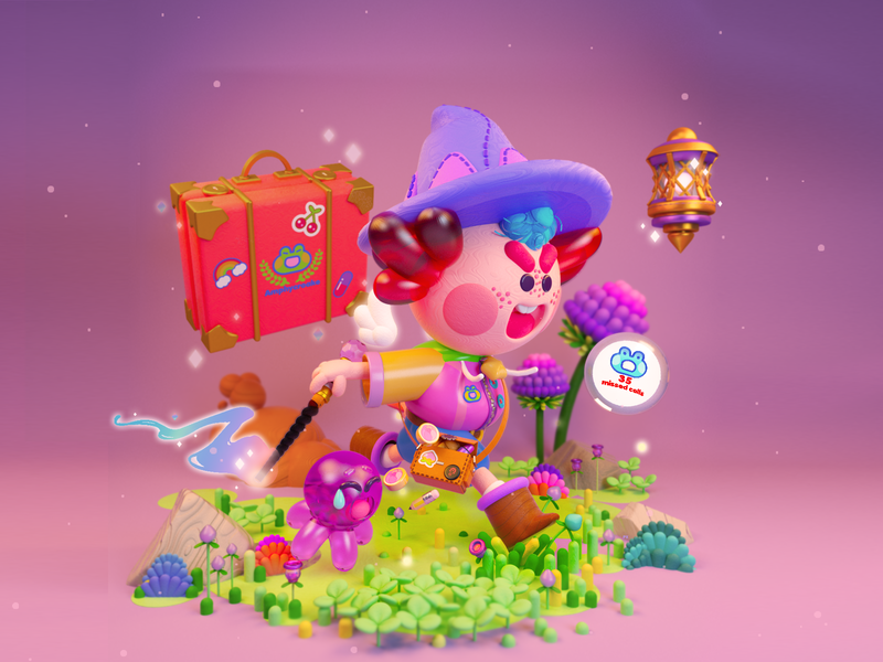 Axolotl Mage mexico candies school student 3d art 3d characterconcept flower nature wizard mage axolotl c4d cinema4d magic character kawaii illustration maxonc4d 3d illustration