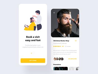 Barber Shop App typography clean book booking service saloon haircut hair barbershop barber barber shop illustration vector ios mobile ux ui design app