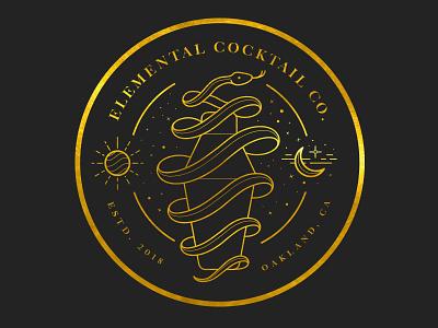 Elemental Cocktail Co. : Logo Design oakland alchemy logo art direction branding illustration snake badge cocktail elemental