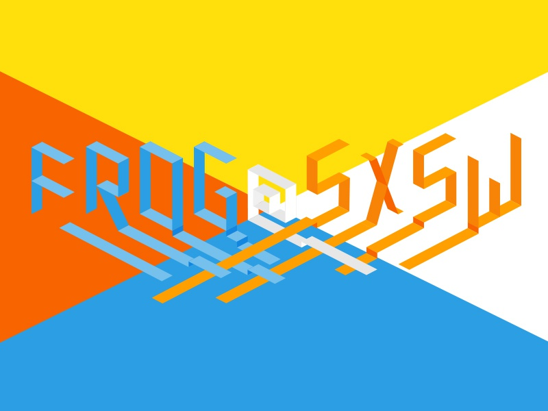 FROG Design @ SXSW : Event Two convergence illustrated type typography isometric ribbon lettering art direction austin sxsw frog design