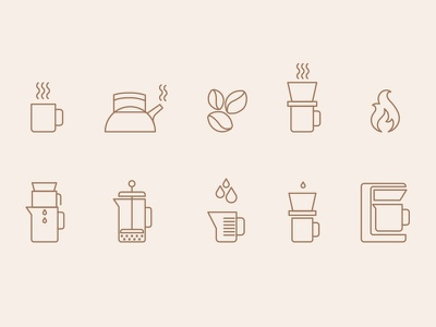 Starbucks: Home Brew / Pour Over Icon Set coffee starbucks illustration pour over icon home brew coffee cup process graphic
