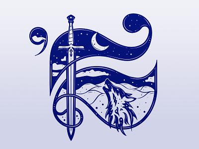 """King Design : """"K"""" Illustration lettering logo art direction sword wolf king letter k king design illustration"""