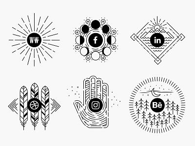 King-Design.co : Connect Page : Social Profiles badges social illustration behance instagram dribbble linkedin facebook wnw king design