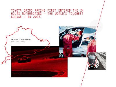 Toyota Gazoo Racing Redesign : Our Story toyota gazoo racing ux  ui art direction branding race car toyota gazoo racing web design responsive