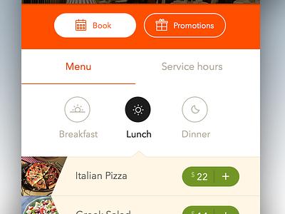 Lunch clean interaccion ui ux flat ios booking restaurant menu