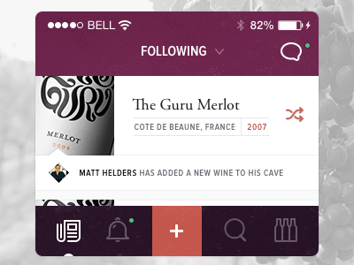 iOS App - Proposal #1 ios ui ux interaction visual design interface user experience clean texture serif adobe garmond pro wine
