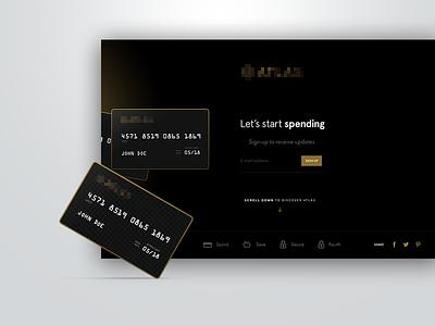 Let's spend website credit card ui visual design