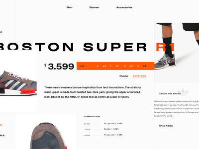 Sneaker clean grid layout interaction ui photography grid typography fashion shopping ecommerce