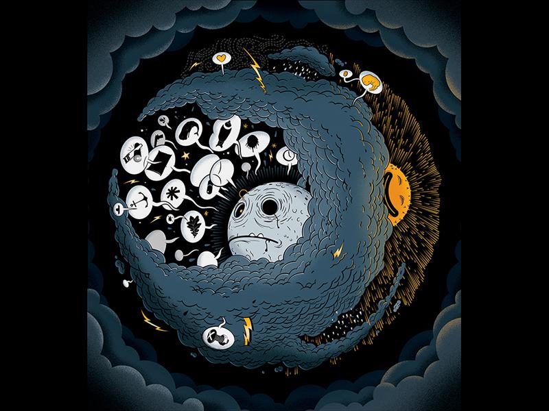 Waning Gibbous II recordart clouds gibbous waning monn digital illustration