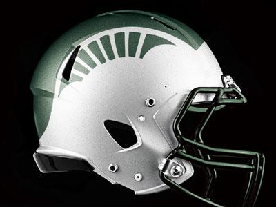 Michigan State Spartans helmet design michigan state msu michigan state michigan state spartans football helmet ncaa nike riddell cfb big 10 big10