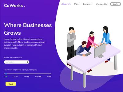 Coworks . Landing Page concept beginner ux ui design illustration adobe xd