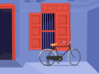 The fort and cycle affinity designer affinitydesigner illustration drawing kerala house mattanchery palace fort cycle