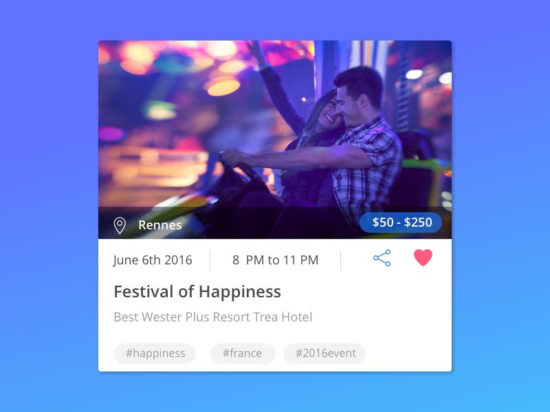 App - Event Card app ui celebration happiness multi platform cordova app app design material events cards card design
