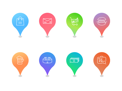 Map Marker Icons Vibrant Color